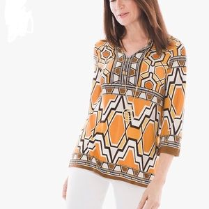 Chicos Womens Africa Ikat Tunic Size 1 (MED) NWT